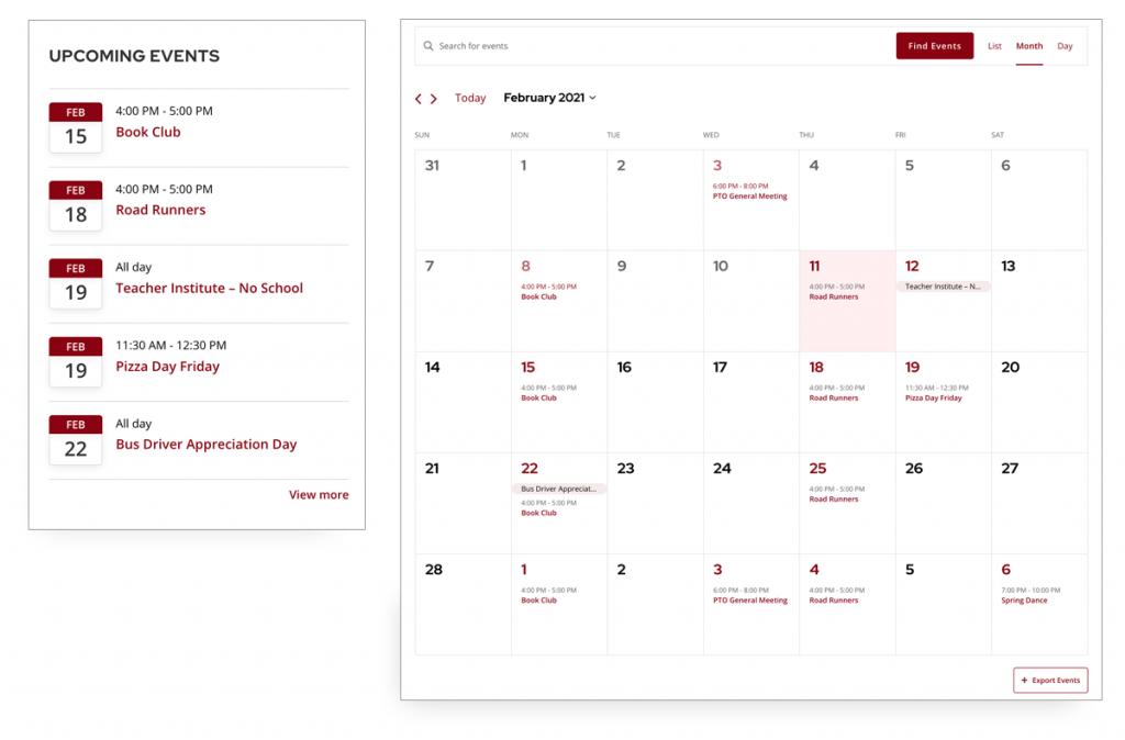 Screenshot of PTO website events calendar