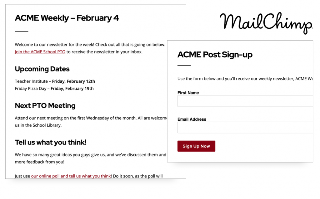 Screenshot of mailing list features