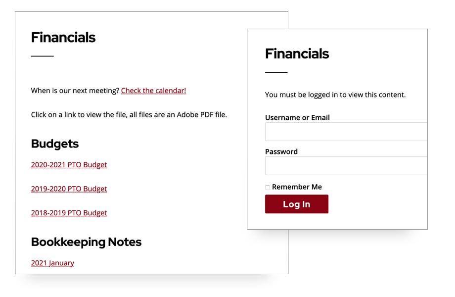 Screenshot of PTO website password-protected financials