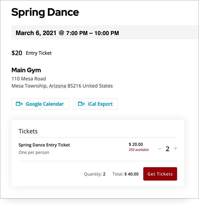 Screenshot of PTO website ticket sales